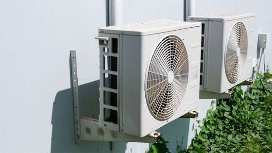 Air conditioner fans outdoors
