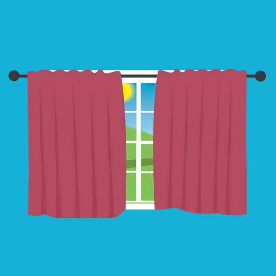 Illustration of curtains drawn over a window