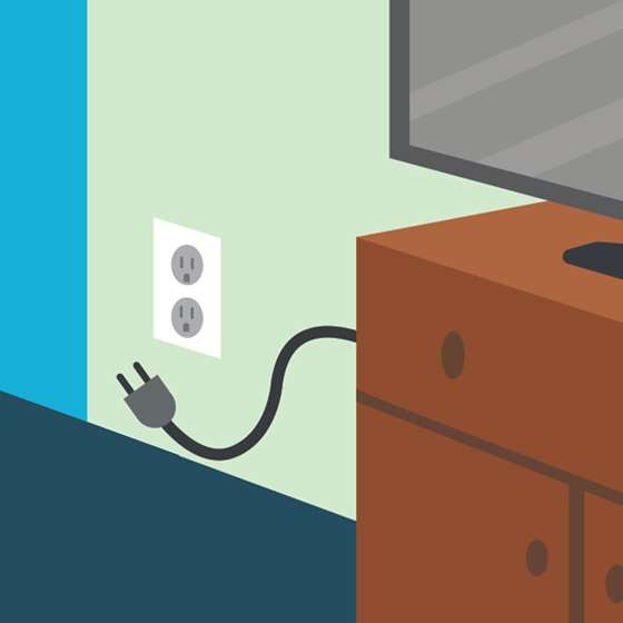 Illustration of a television unplugged from a wall outlet