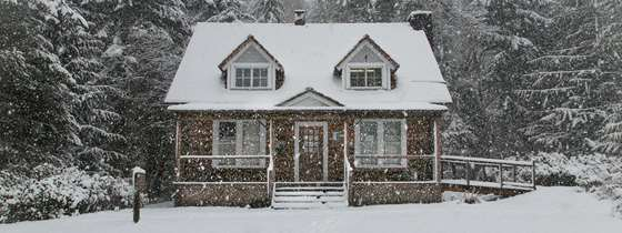 The exterior of a home in winter