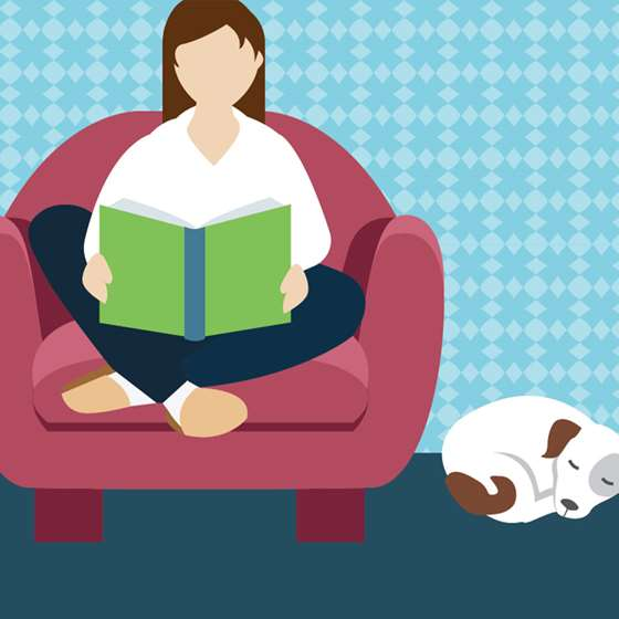 Illustration of a person sitting comfortable on a couch reading a book
