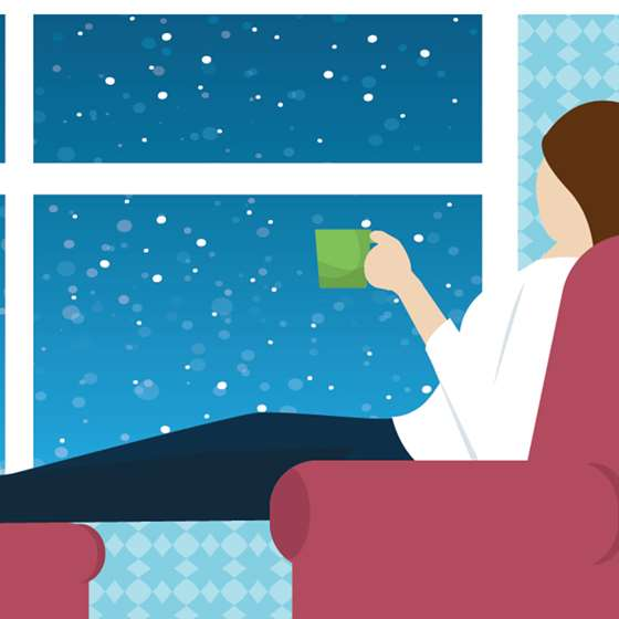 Illustration of a person sitting with a hot beverage looking out the window on a cold night