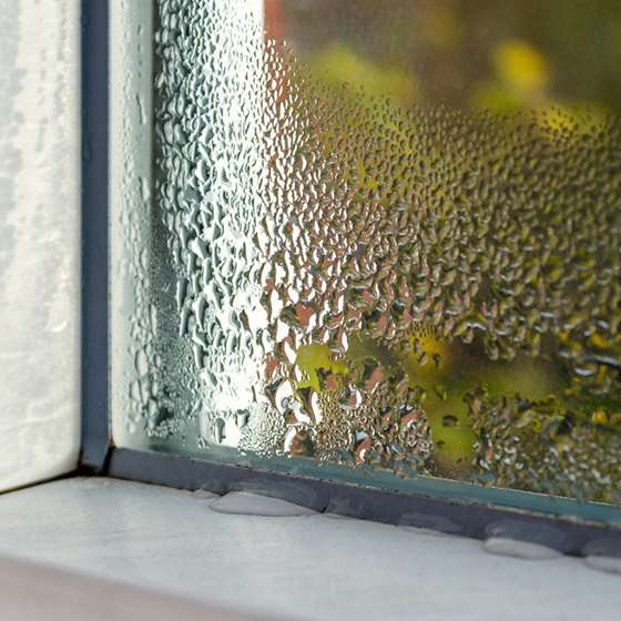 Condensation builds on the interior pane of a window
