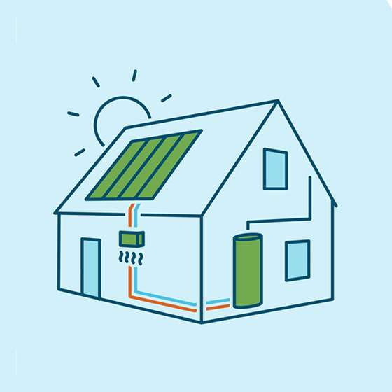 A home with rooftop solar and a heat pump