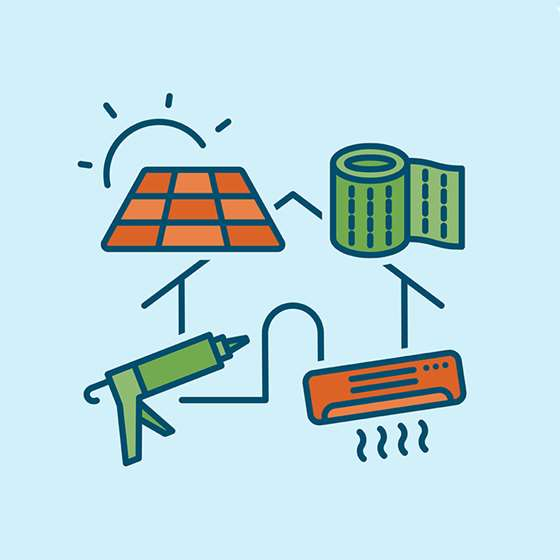 Icons representing weatherization, solar, and heat pumps