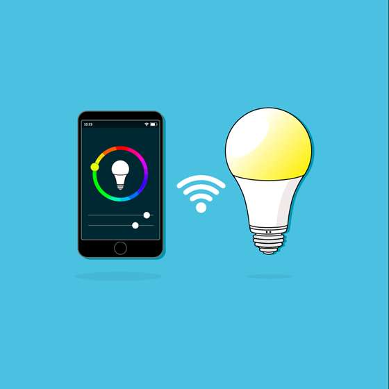 Smart bulb and iphone app graphic