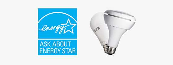 The ENERGY STAR logo and two LED light bulbs