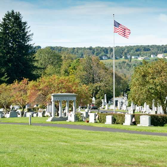A scenic view of Hope Cemetary and foliage in the background