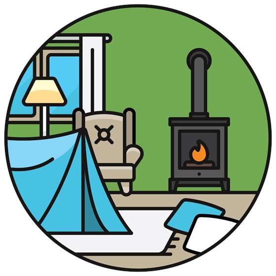 a cartoon of a tent next to a woodstove