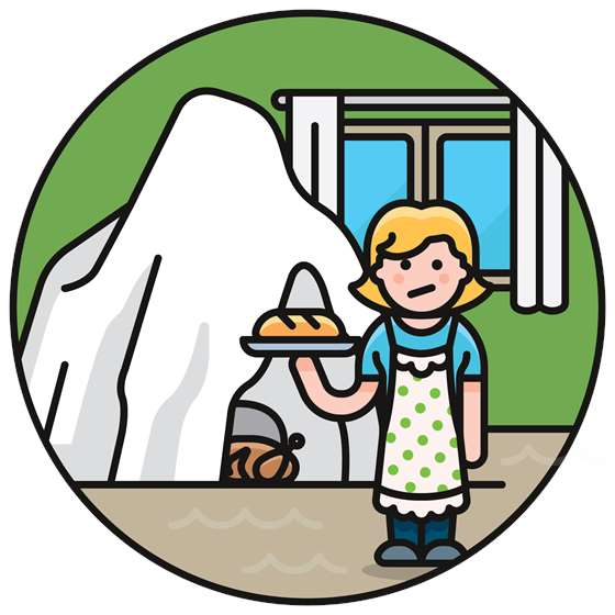 a cartoon of a person storing food in an ice cave
