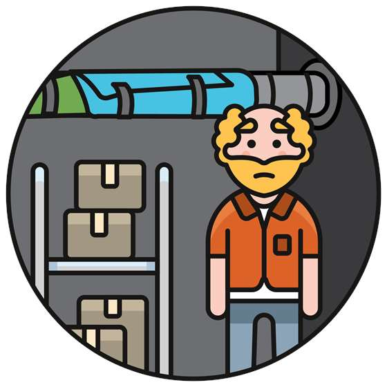 a cartoon of a man standing in front of towel-wrapped pipes in a basement