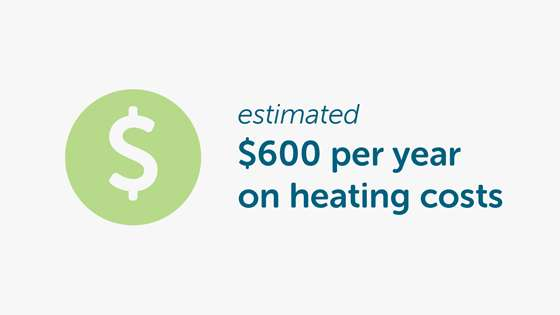 estimated $600 per year on heating costs