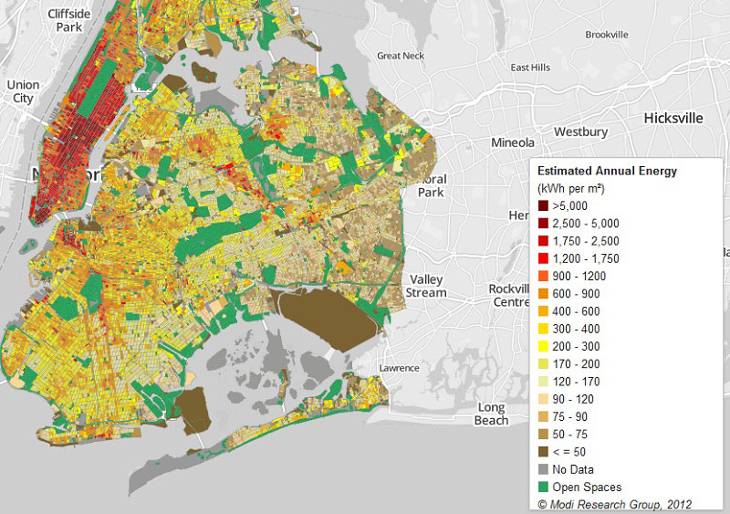 a map showing block-by-block energy use in New York City
