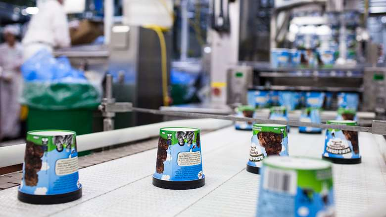 Ben and Jerry's ice cream pint at the manufacturing plant