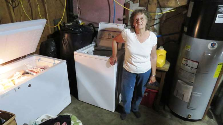 Gloria Powers stands under her new energy-efficient lights and between the new power-savings freezer and hot-water tank.