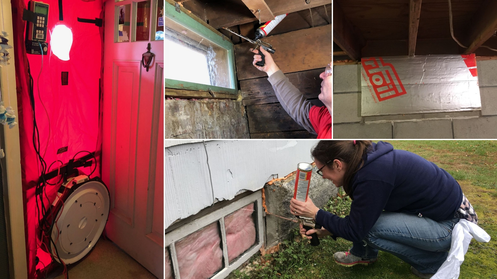 photo colaage of airsealing and blower door