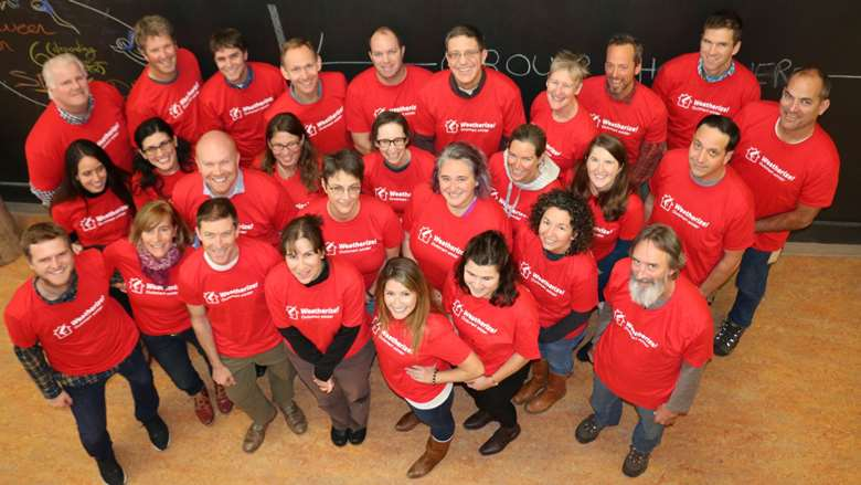group photo in red t-shirts