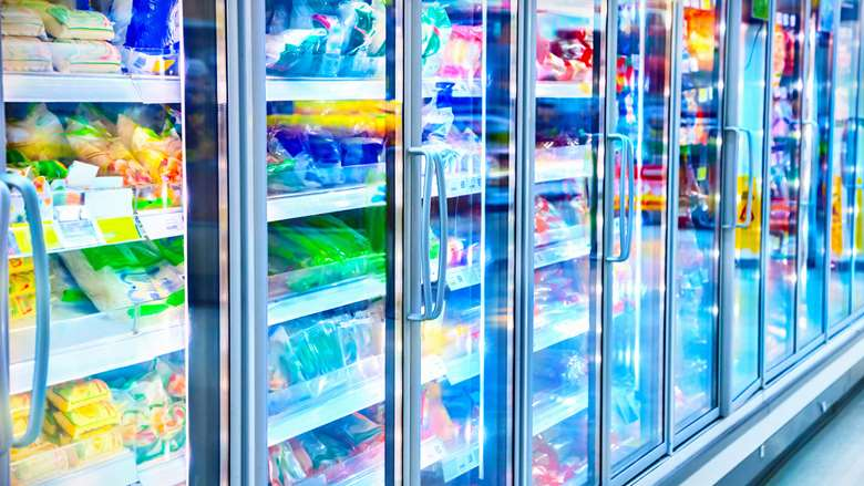 commercial refrigeration at a grocery store, glass case refrigerators