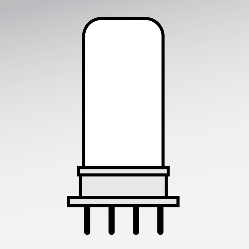 An illustration of a LED Four-Pin Base Replacement Lamps for CFLs
