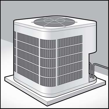 An illustration of a Centrally-Ducted Heat Pumps