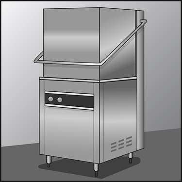 An illustration of a Commercial Dishwashers