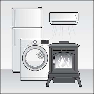 An illustration of a Free Products and Appliances for Income Qualified Vermonters